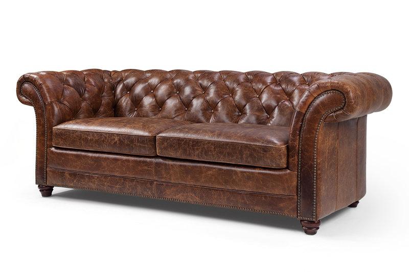 100% Vollleder Antik Stil Leder Sofa Couch Polster 3 Sitzer Neu Winchester II