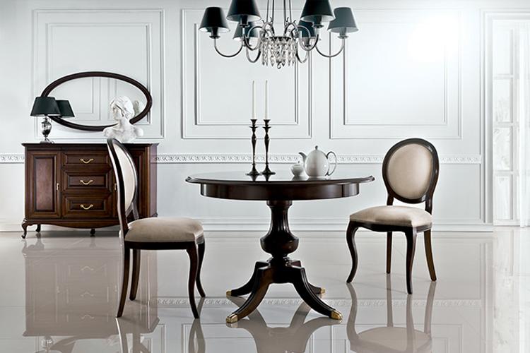 Klassischer Tisch mit 2 Stühlen Royal Stühle Tische Rundtisch Holztisch - Verona