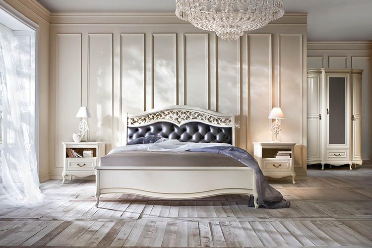 Bett Ehebett Klassisches Doppelbett Lederbett Chippendale Schlafzimmer - Verona