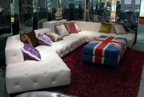 Designer Ecksofa Couch + Hocker Leder Sofa Couch Eck Polster mit Steinen Neuware A996