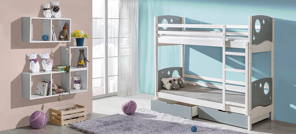 hochbett doppelstockbett etagenbett kinderbett bett bettkasten farbauswahl kevin www jvmoebel. Black Bedroom Furniture Sets. Home Design Ideas