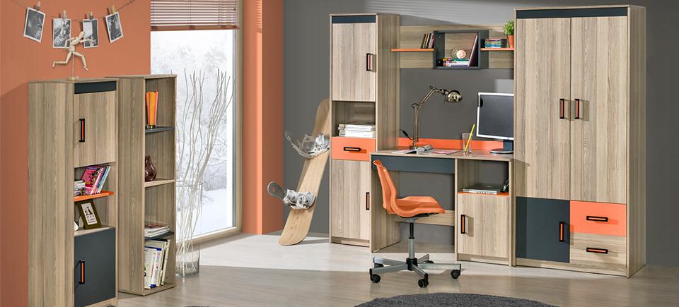 Wohnwand Schrankwand Eck Schrank Kinderzimmer Schreibtisch Jugendzimmer NEU  №6