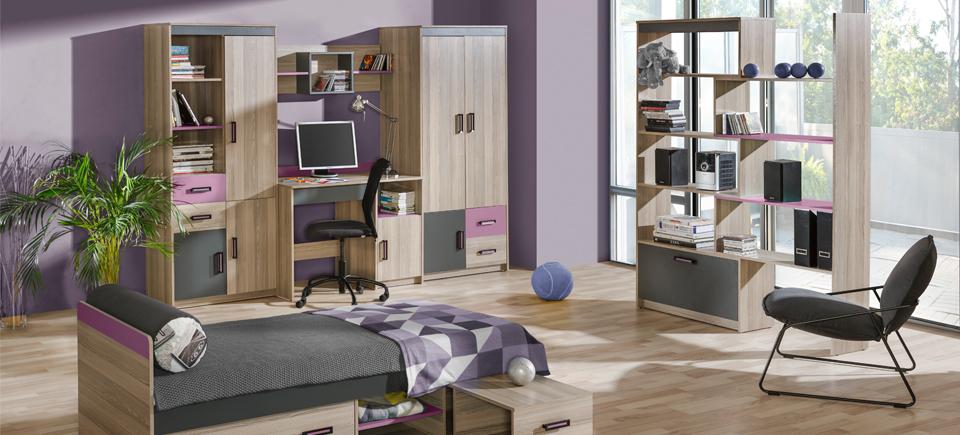 Wohnwand Schrankwand Eck Schrank Kinderzimmer Schreibtisch