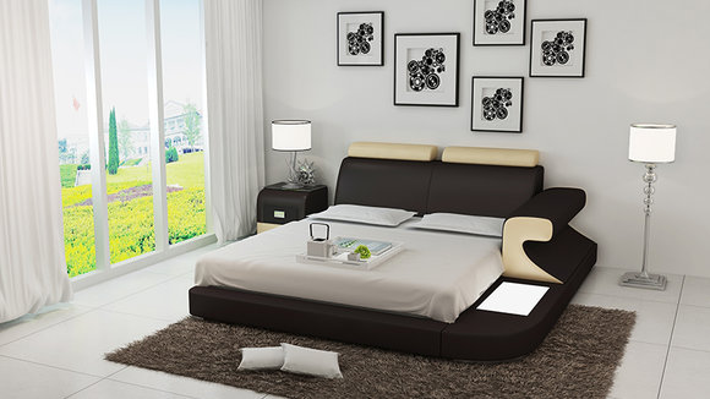 Luxus Bett + Beleuchtung Lederbett Betten Sofa Big Ehe Polster 140/160/180 Neu