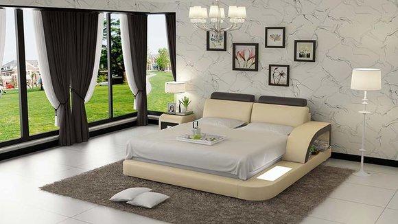 Luxus Bett Beleuchtung Lederbett Betten Sofa Big Ehe Polster 140/160/180 LB8808