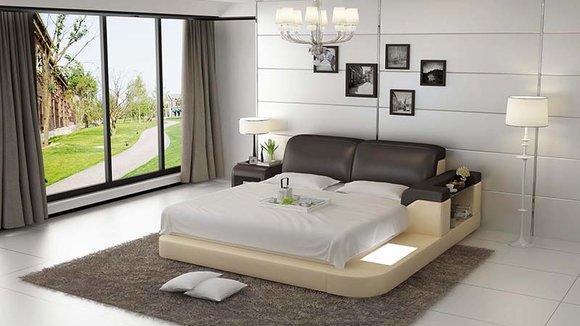 Luxus Bett +Beleuchtung Lederbett Betten Sofa Big Ehe Polster 140/160/180 LB8807