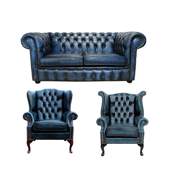 Chesterfield Sofagarnitur Leder Textil Chesterfield Komplett Set Sofa Couch 428