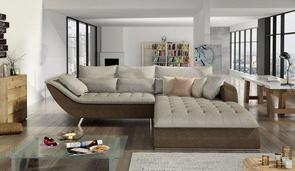 Stoff L Form Couch Wohnlandschaft Ecksofa Garnitur Modern Design Sofa Rollo