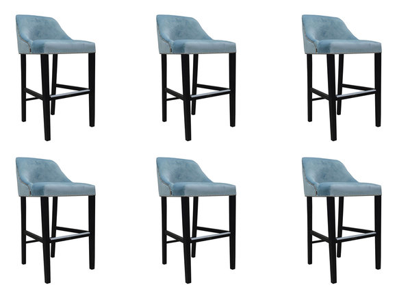 6x Design Komplett Stuhl Set Barhocker Hocker Chesterfield Garnitur Set Stühle