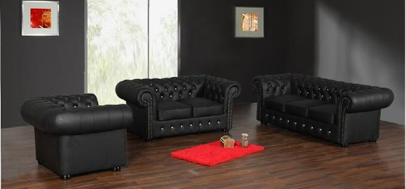 Chesterfield 3+2+1 Sitzer mit Bettfunktion in 100% LEDER Garnitur - SOFORT LEDER