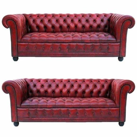 Chesterfield Sofagarnitur 3+3 Sitzer Couch Polster Garnituren Ledersofa Klassik