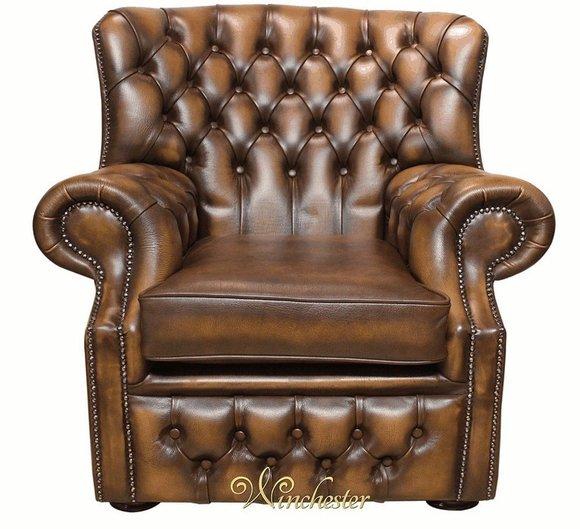Chesterfield Samt Braun Ohrensessel 1 Sitzer Designer Leder Fernseh Sessel Sofa