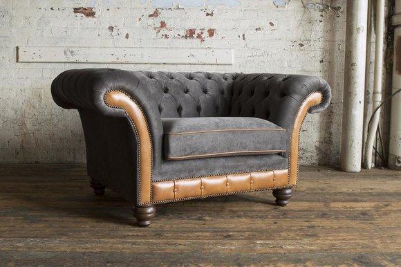 Sessel 1 Sitzer Relax Polster Fernseh Chesterfield Textil Sofa Couchen Grau Neu