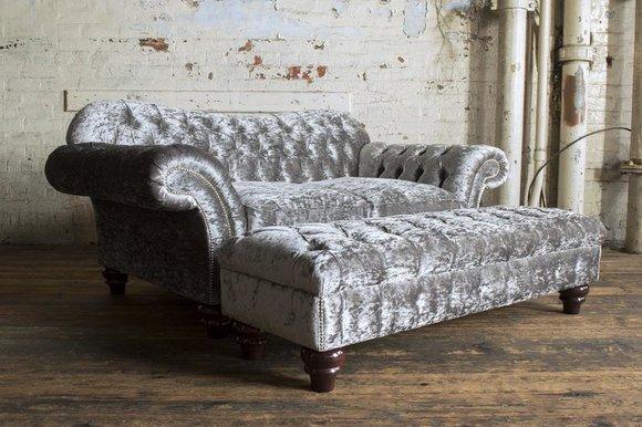 2 Sitzer + Hocker Chesterfield Sofagarnitur Sofa Couch Polster Set Garnitur Neu