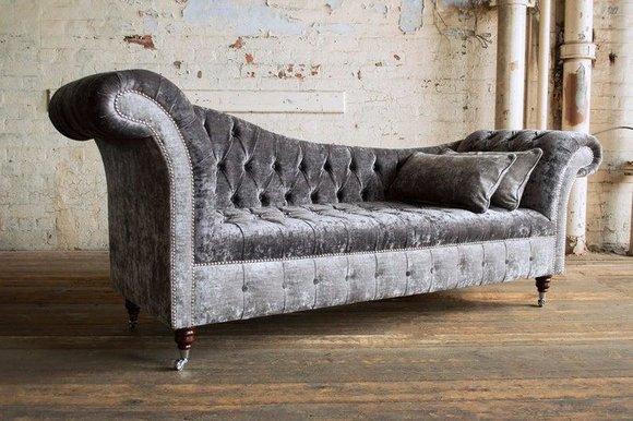 Graue Chesterfield Couch Sofa Polster 3 Sitzer Couchen Sitz Garnitur Sofas Neu