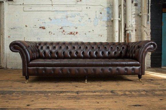 XXL Big Wohnzimmer Couch Chesterfield 4 Sitzer Leder Sofa ...