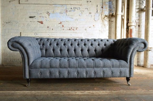 Edle Luxus Stoff Couch Chesterfield Stoff Sofa Polster ...