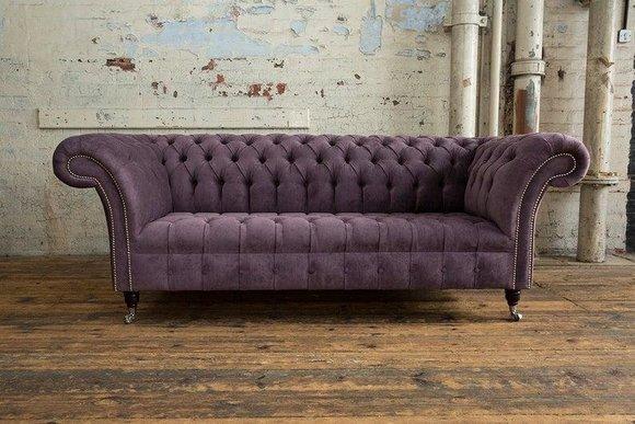 Chesterfield 3 Sitzer Couch Polster Sitz Textil Stoff ...