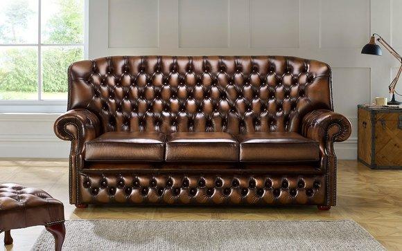Klassische Leder Sofa Couch Polster 3 Sitzer Leder Sofas Couchen Braune Garnitur