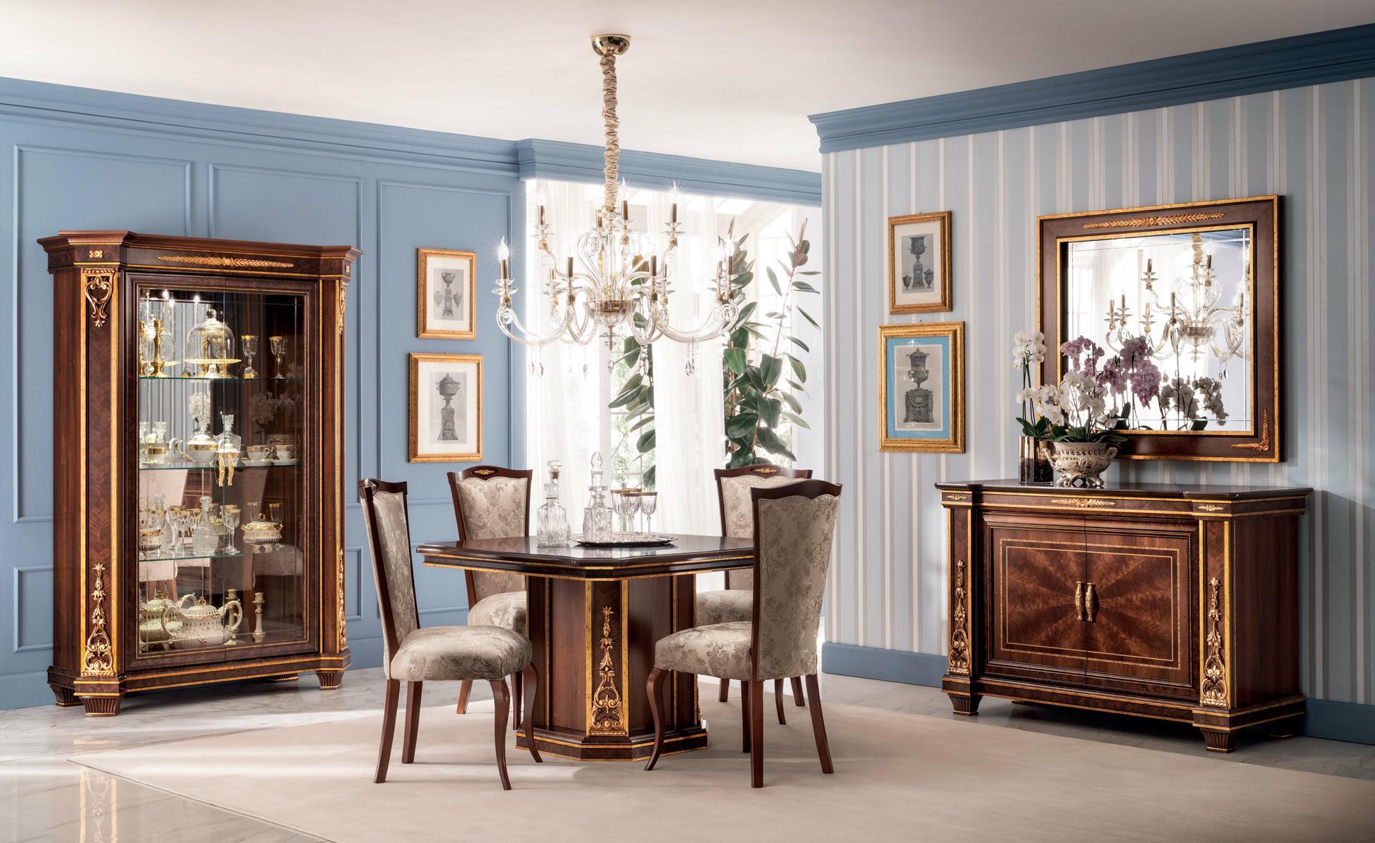 Komplett Esszimmer Vitrine TischKommode Spiegel 4x Stühle Set Garnitur Neu