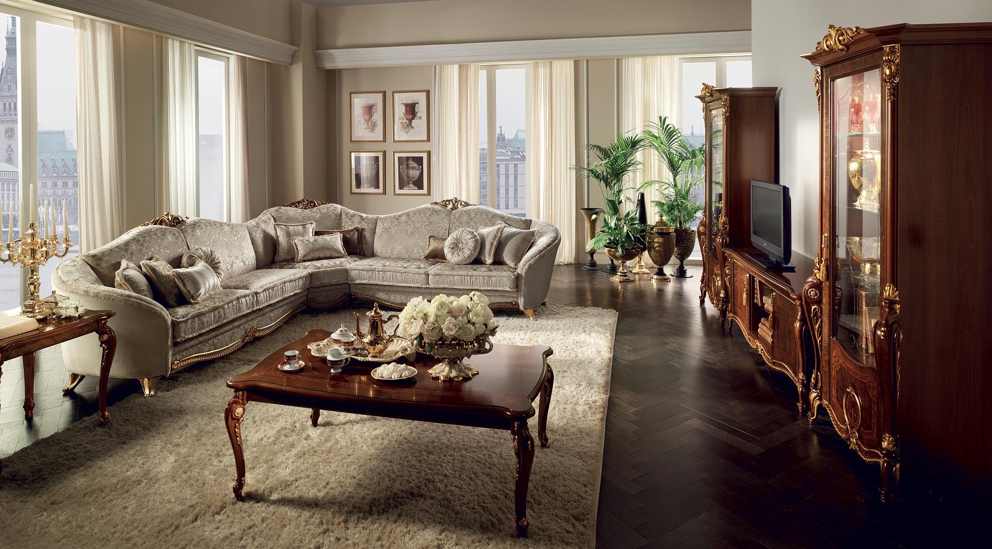 Klassische Design Couch Ecksofa Wohnlandschaft Sofa Polster Sitz arredoclassic™