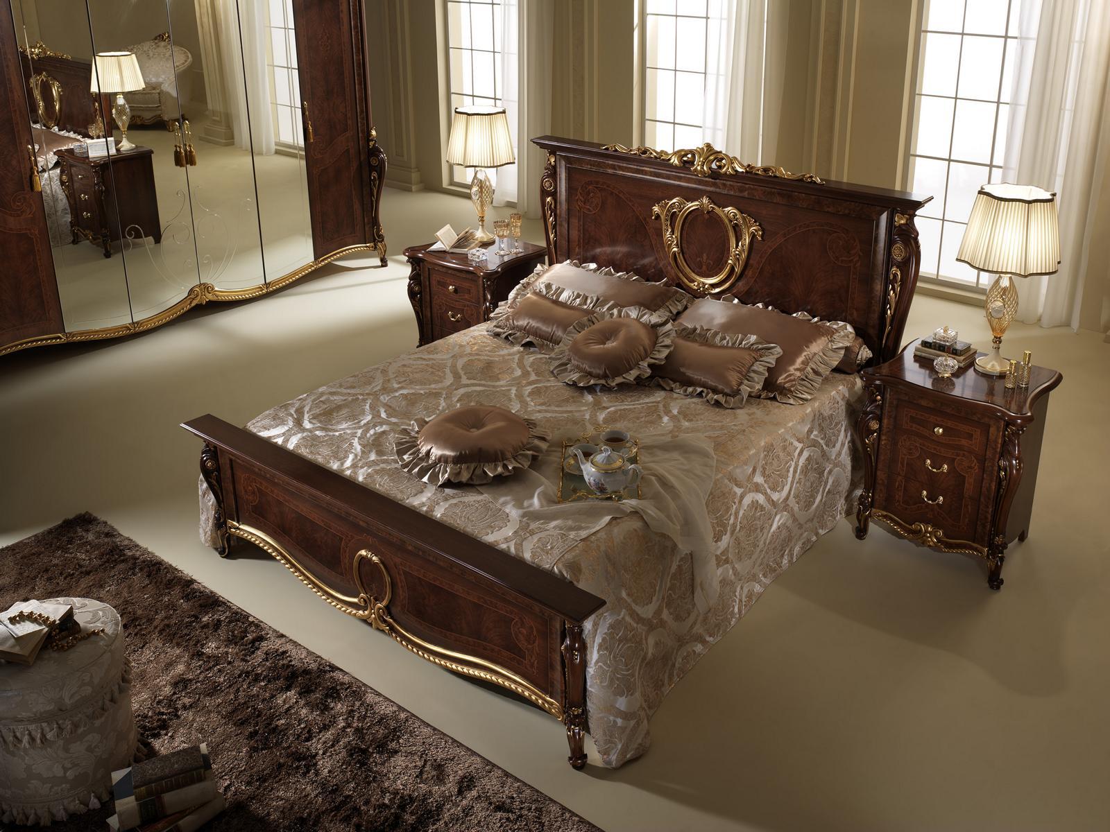 Doppelbett Bett Holz Design Betten Antik Stil Barock Rokoko 2x Nachttische Neu