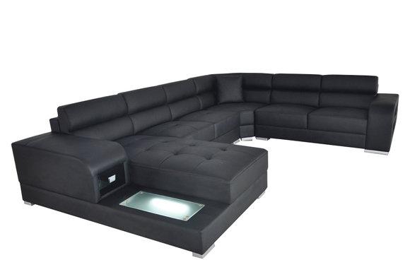 Ledersofa Couch Wohnlandschaft Garnitur Design Modern Ecke ...