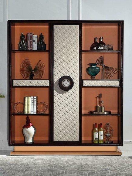 Luxus Designer Vitrine Schrank Holz Leder Bücher Schränke Wohn Arbeits Zimmer