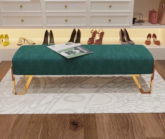 Hocker Polsterhocker Fuß Ablage Möbel Wohnen Sitzbänke Sitz Textil Grün Designer