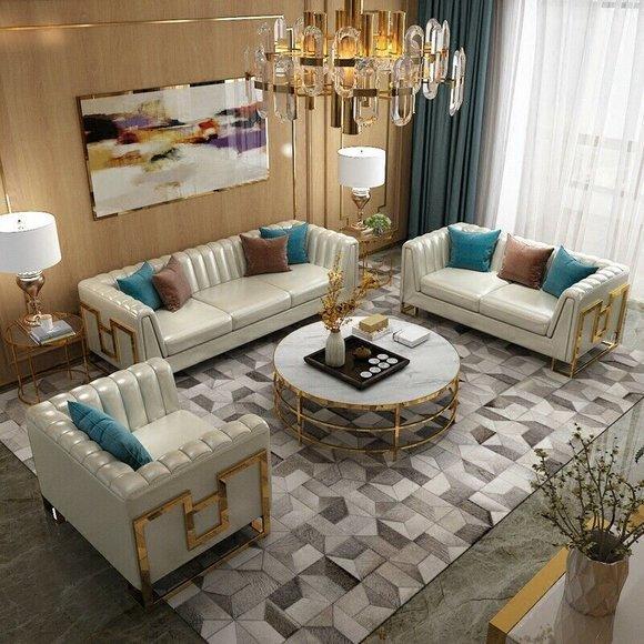 Luxus Edelstahl Leder Couch Polster Sitz 3+2+1 Set Wohnzimmer Garnitur Sofa Neu