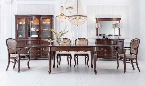 Klassischer Hochglanz Antik Stil Barock Tisch mit 6 Stühlen Stuhl Set Garnitur