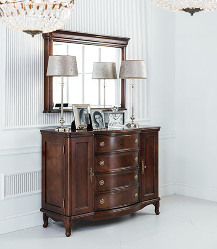Spiegel + Kommode Schrank Kommoden Anrichte Schlafzimmer Set Holz Antik Stil Neu