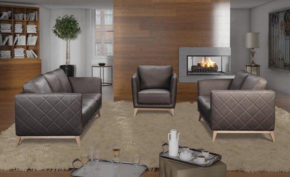 Leder Design Couch Polster Sitz 3+1+1 Garnitur Sofa Garnituren Kunstleder Sofas