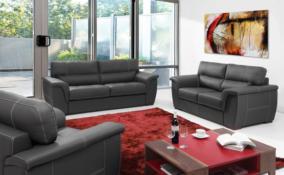 Leder Design Couch Polster Sitz Garnitur Sofa Garnituren 2+1 Leder Set Sofas Neu