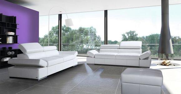 Bettfunktion 2,5 Sitzer Couch Design Polster Modern 100% Italienisches Leder Neu