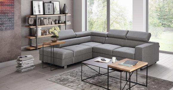 Ecksofa Bettfunktion Grau Stoff L-Form Sofa Couch Design ...