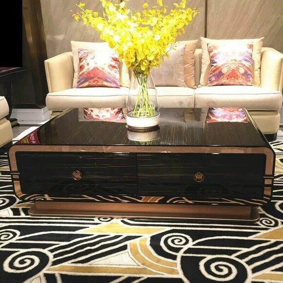 Design Holztisch Edler Luxus Couchtisch Beistell Tische Tisch Echteckig Braun