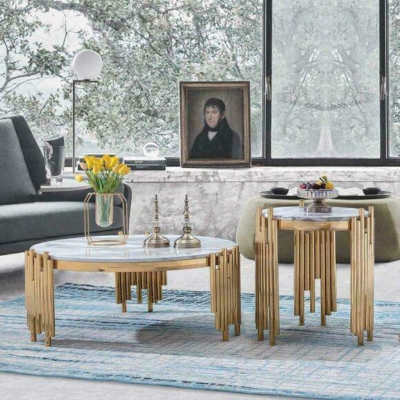 Set 2er Set Garnitur Beistell Couch Tische Zeitungs Designer Marmor Tisch Rund