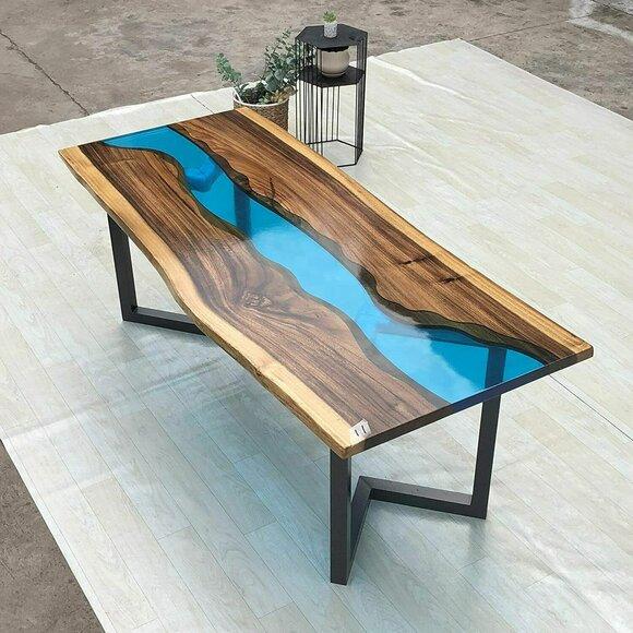 Beistelltisch Epoxid Harz Tisch Couchtisch Handgefertigter Couchtisch 120x60cm