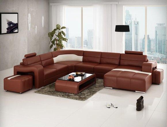 ecksofa u form leder. Black Bedroom Furniture Sets. Home Design Ideas
