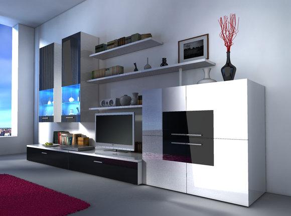 Wohnwand Wohnzimmer Schrank Mit Vitrine Sideboard Delta Variante 1 Black White KB