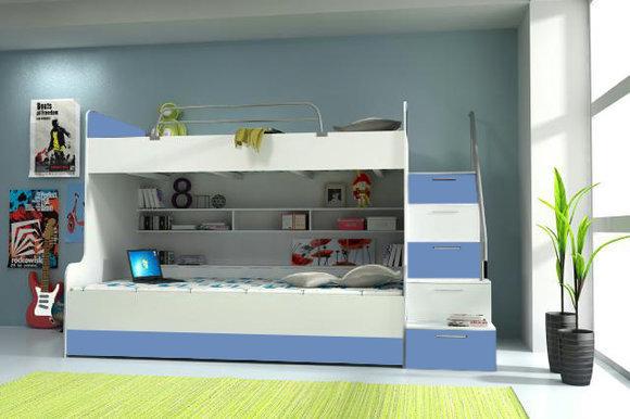 Doppelstockbett Stockbett Bett Doppelbett Etagenbett Betten B003 RAJ2 3-Teilig Blau/Weiss