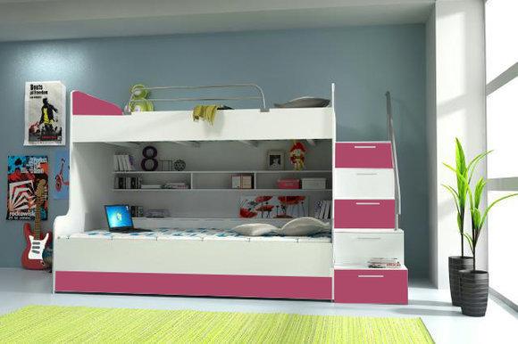 Doppelstockbett Stockbett Bett Doppelbett Etagenbett Betten B003 RAJ2 3-Teilig Rosa/Weiss
