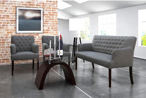 Chesterfield Sofagarnitur Sitzbank Bank Sofa Couch Neu 2+1+1 Polster Set AMBERO