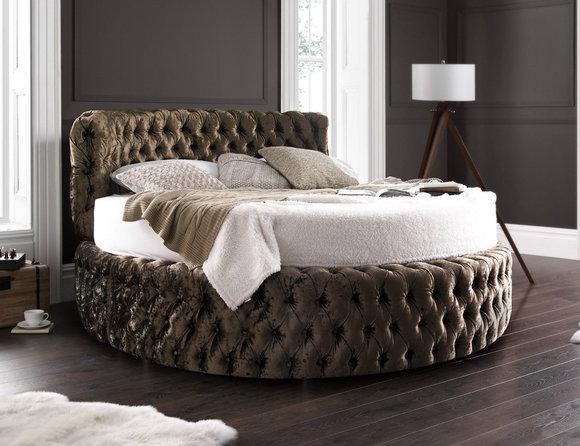 Luxus Design Rundbett Rundes Bett Ehe Rund XXL Hotel Bett Chesterfield Polster