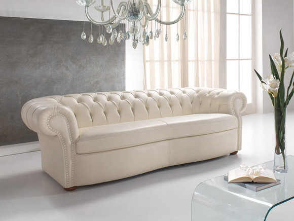 Design Chesterfield Sofa 9 Sitzer Weiß Couch Polster Sofas Wohnzimmer Leder  Neu