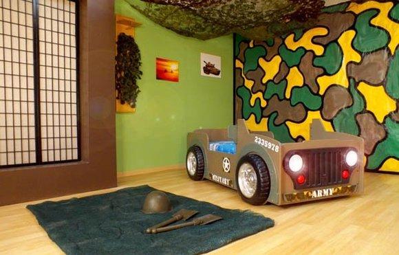 Kinderbett mit Matratze Jugendbett AutoBett Scheinwerfer Betten JEEP