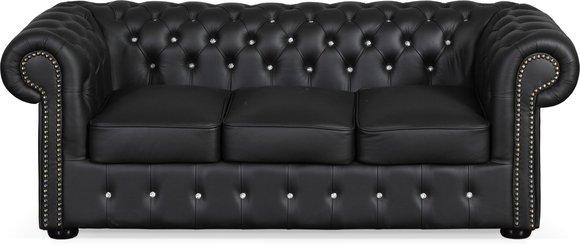 Chesterfield Ledersofa CLASSIC SOFA FW Farben schwarz braun weiss