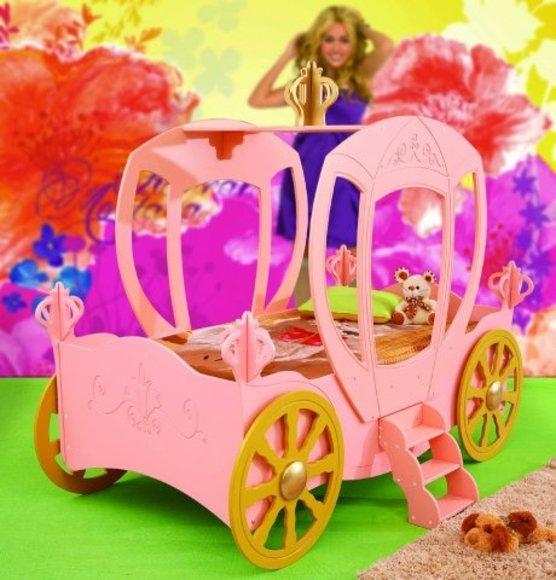 Bett mit Matratze Kinderbett Kinderzimmer Kutsche Prinzessin Mädchen Königin Betten CARRIAGE