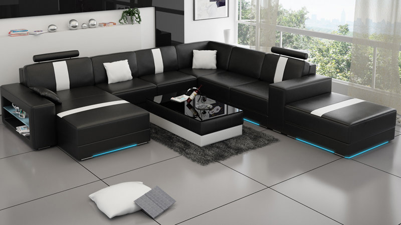 u form wohnlandschaft ledersofa aus der schweiz. Black Bedroom Furniture Sets. Home Design Ideas